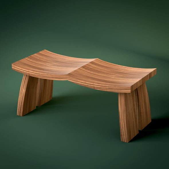 3DOcean Contemporary Curvy Wooden Bench 3166215