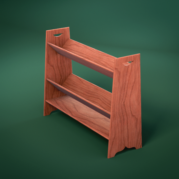 Wood Book Rack ~ D models wooden v shelf book rack docean