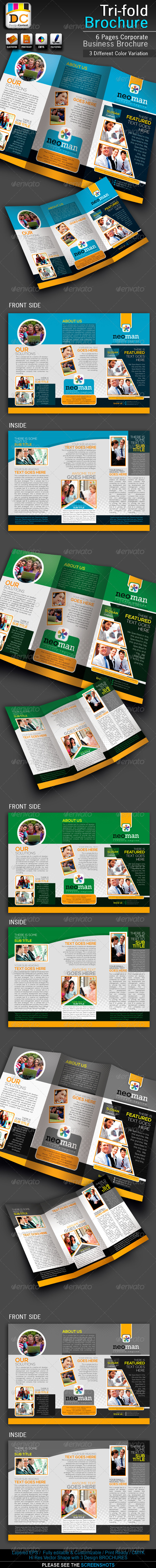 GraphicRiver NeoMan Tri-fold Corporate Business Brochure 3167365