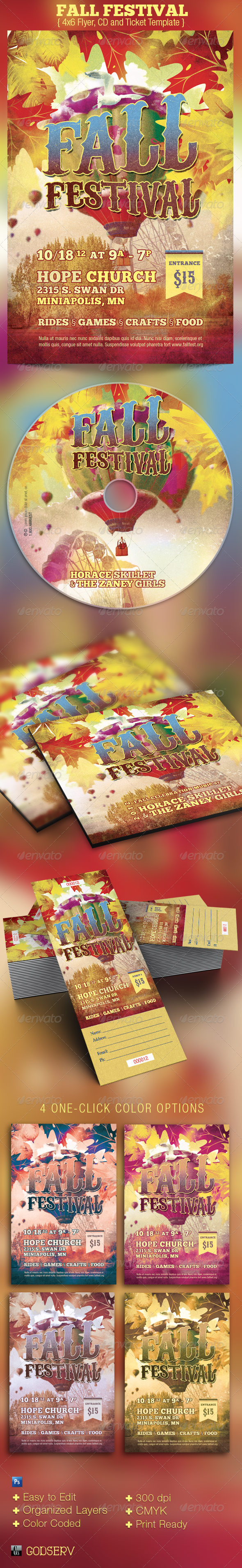 Fall Festival Church Flyer, CD and Ticket Template - Church Flyers