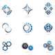 Blue Cog Icons (set of 9) Isolated on a White Back - GraphicRiver Item for Sale