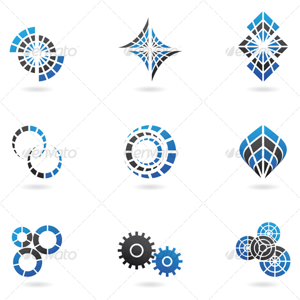 Blue Cog Icons (set of 9) Isolated on a White Back - Abstract Icons