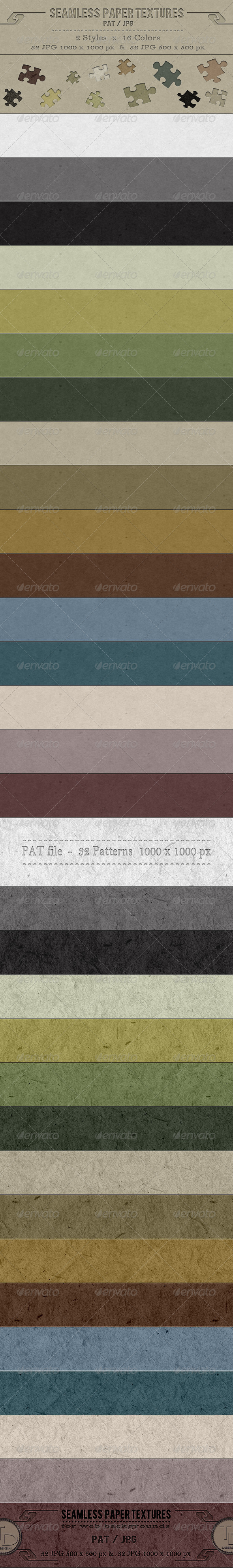 Seamless Paper Textures - Textures / Fills / Patterns Photoshop