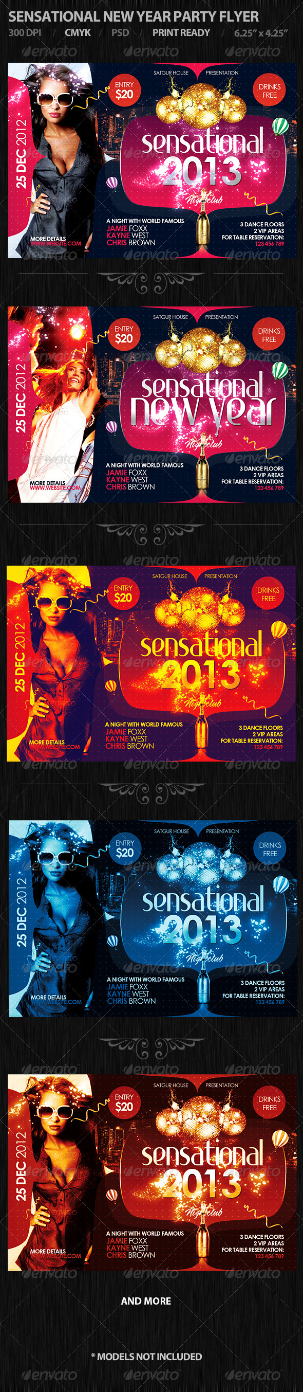 Sensational New Year Party Flyer - Flyers Print Templates