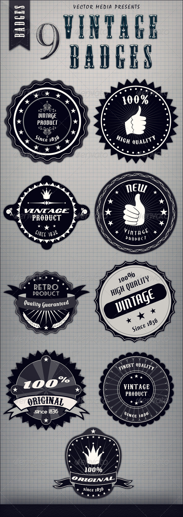 9 Vintage Badges - Web Elements Vectors