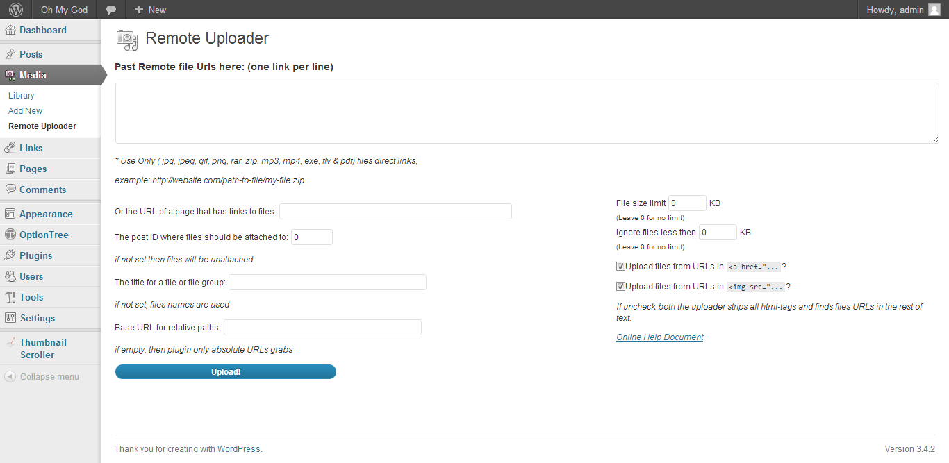 Remote Upload - WordPress Plugin