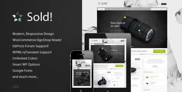WordPress Sold! Responsive Jigoshop E-Commerce Theme