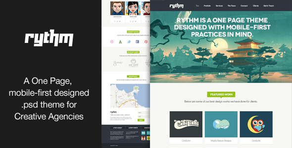 Rythm - A one-page .psd theme for creatives