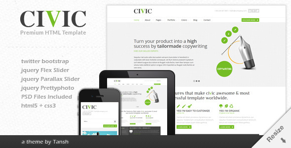 ThemeForest Civic Responsive Business Template 3159673