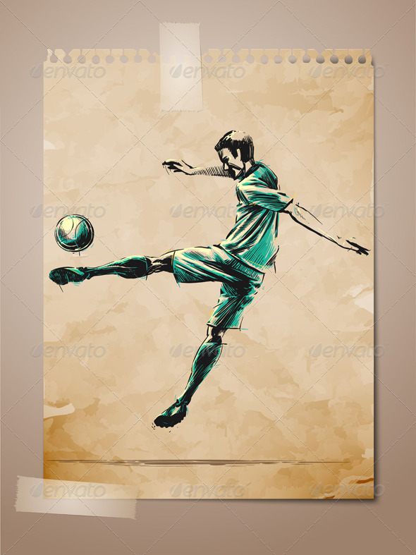 Football Soccer Player Sketch on Aged Note Paper