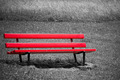 Empty red bench in park - PhotoDune Item for Sale