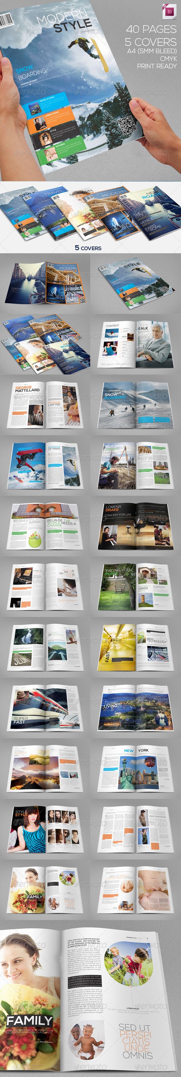 GraphicRiver Modern Style Magazine 40 Pages 5 Covers 3178008