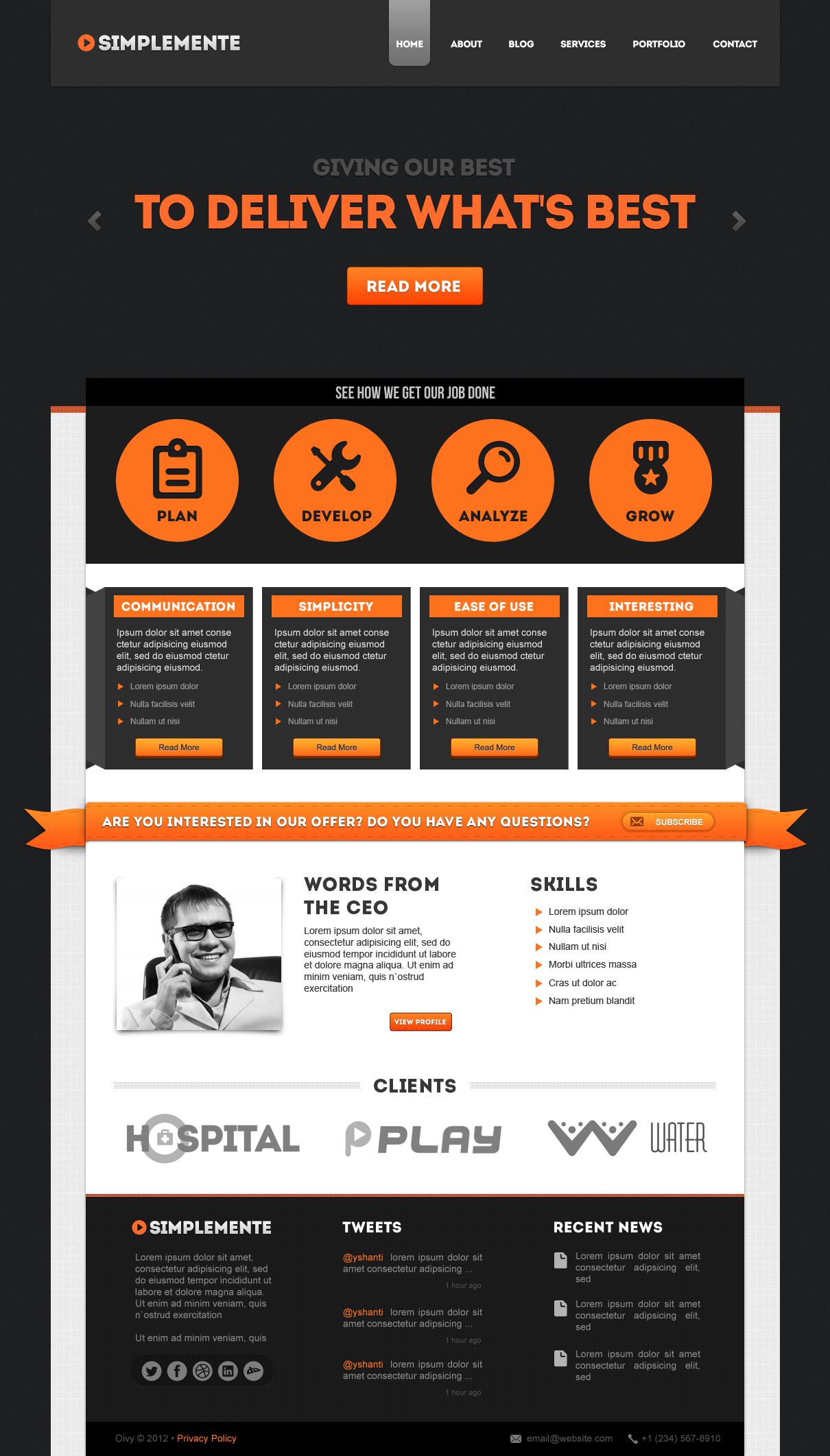 Simplemente | Multipurpose Corporate PSD Template