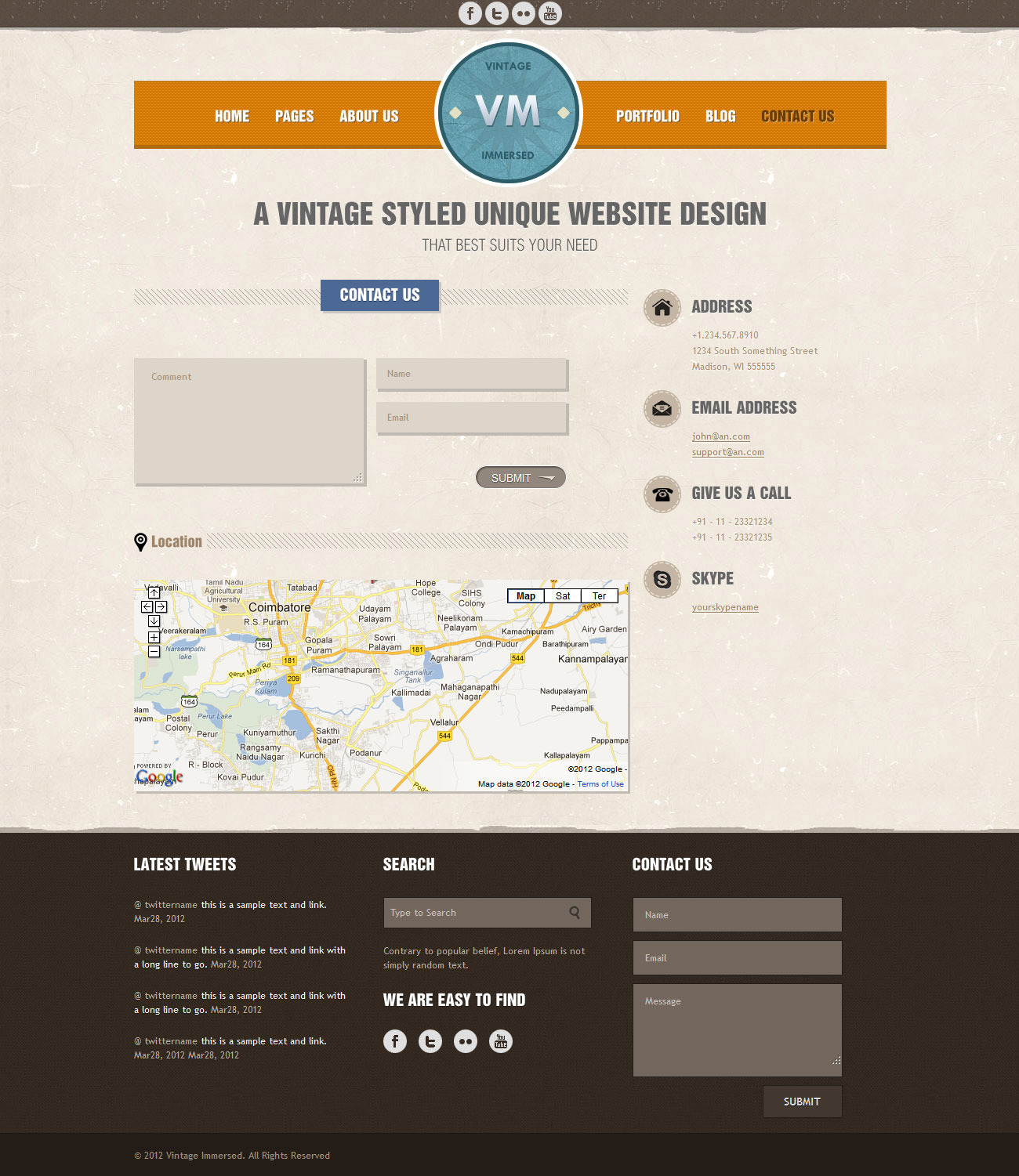 Vintage Immersed - Multipurpose HTML Template