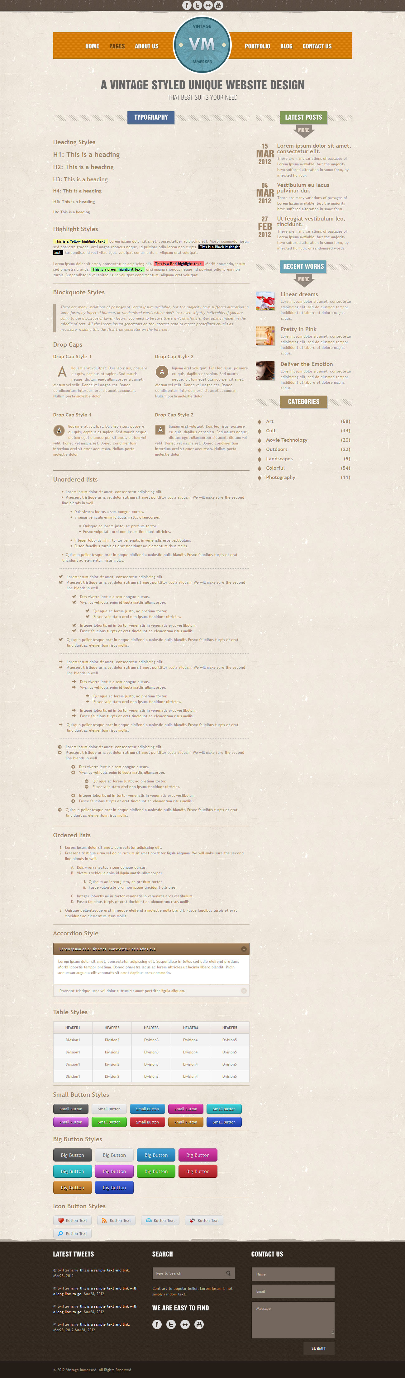 Vintage Immersed - Multipurpose HTML Template