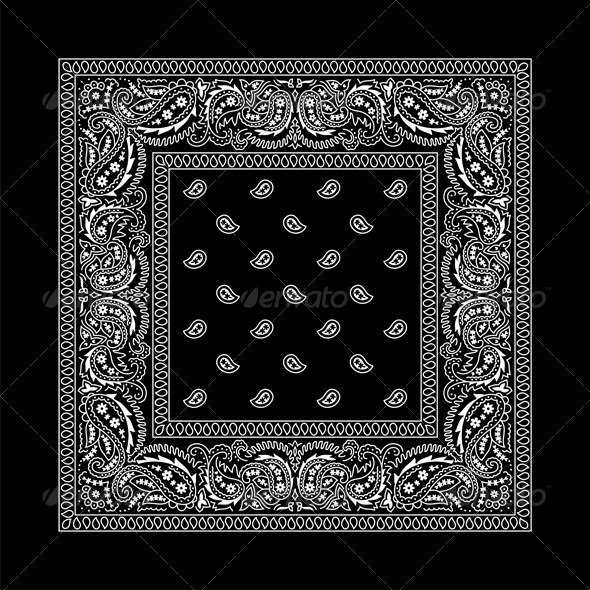 Bandana - 2 (Black) - Flourishes / Swirls Decorative