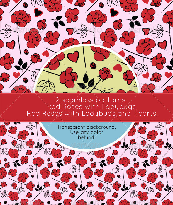 Red Roses, Love, Hearts and Ladybugs - Patterns Decorative
