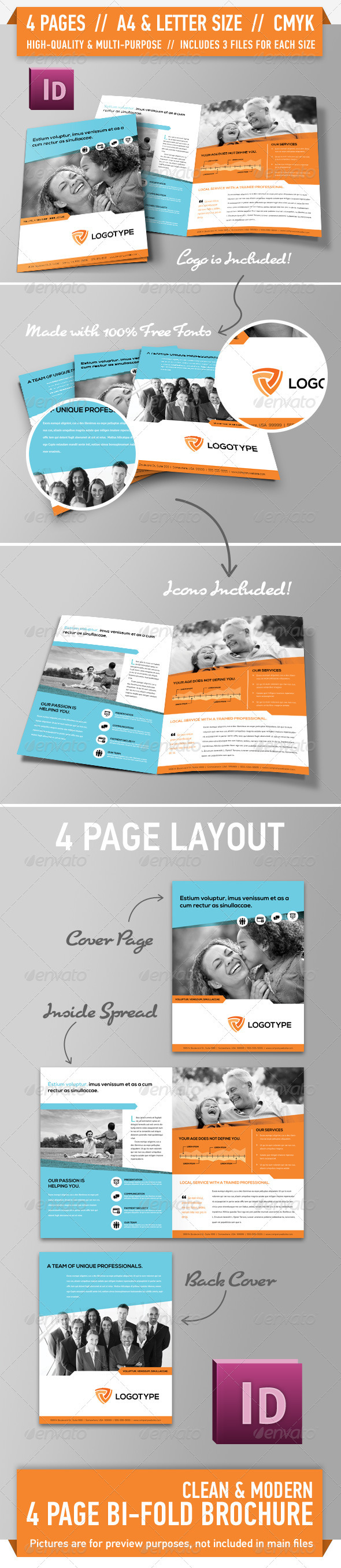 Clean Modern Bifold Brochure - Vol. 2 - Corporate Brochures