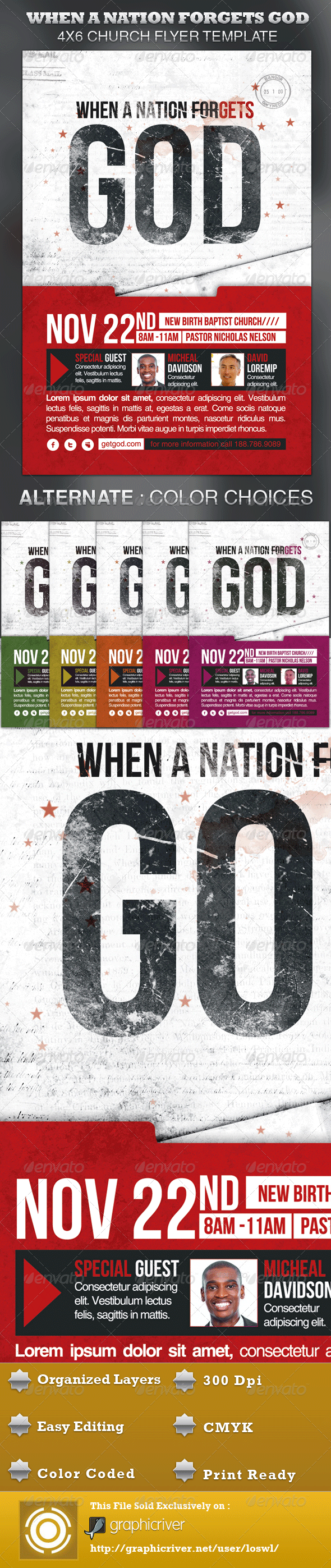 When A Nation Forgets God Church Flyer Template - Church Flyers