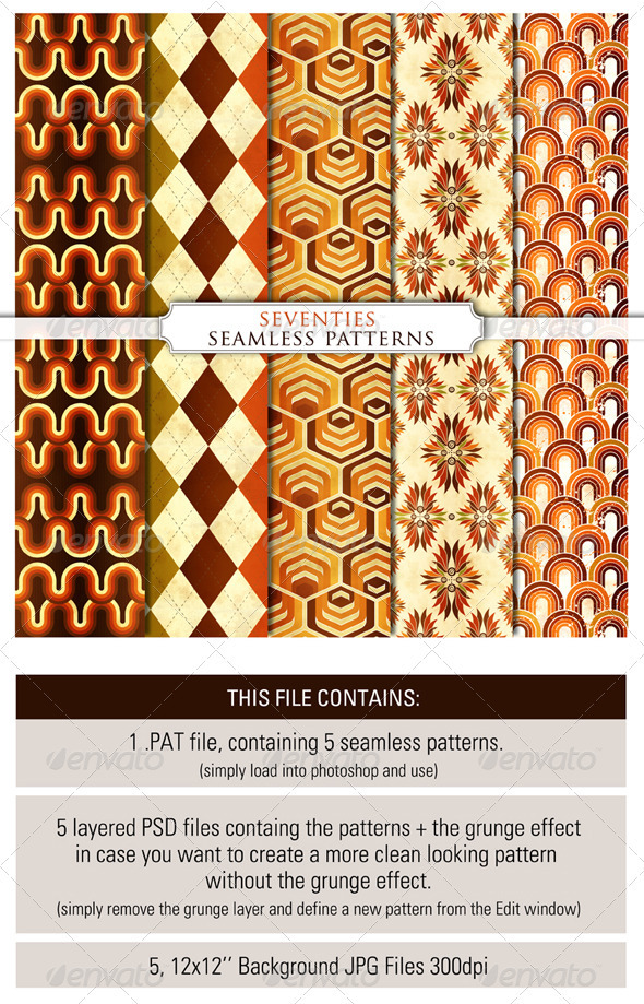 5 Seamless Seventies Photoshop Patterns - Miscellaneous Textures / Fills / Patterns