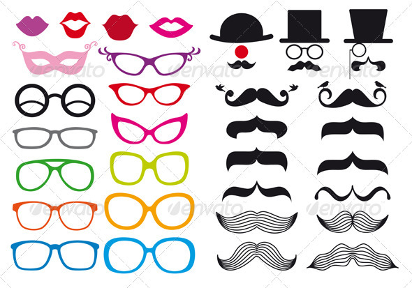Mustache And Spectacles Vector Set