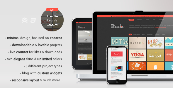 ThemeForest Stoodio A minimal theme for lovable content 3183529