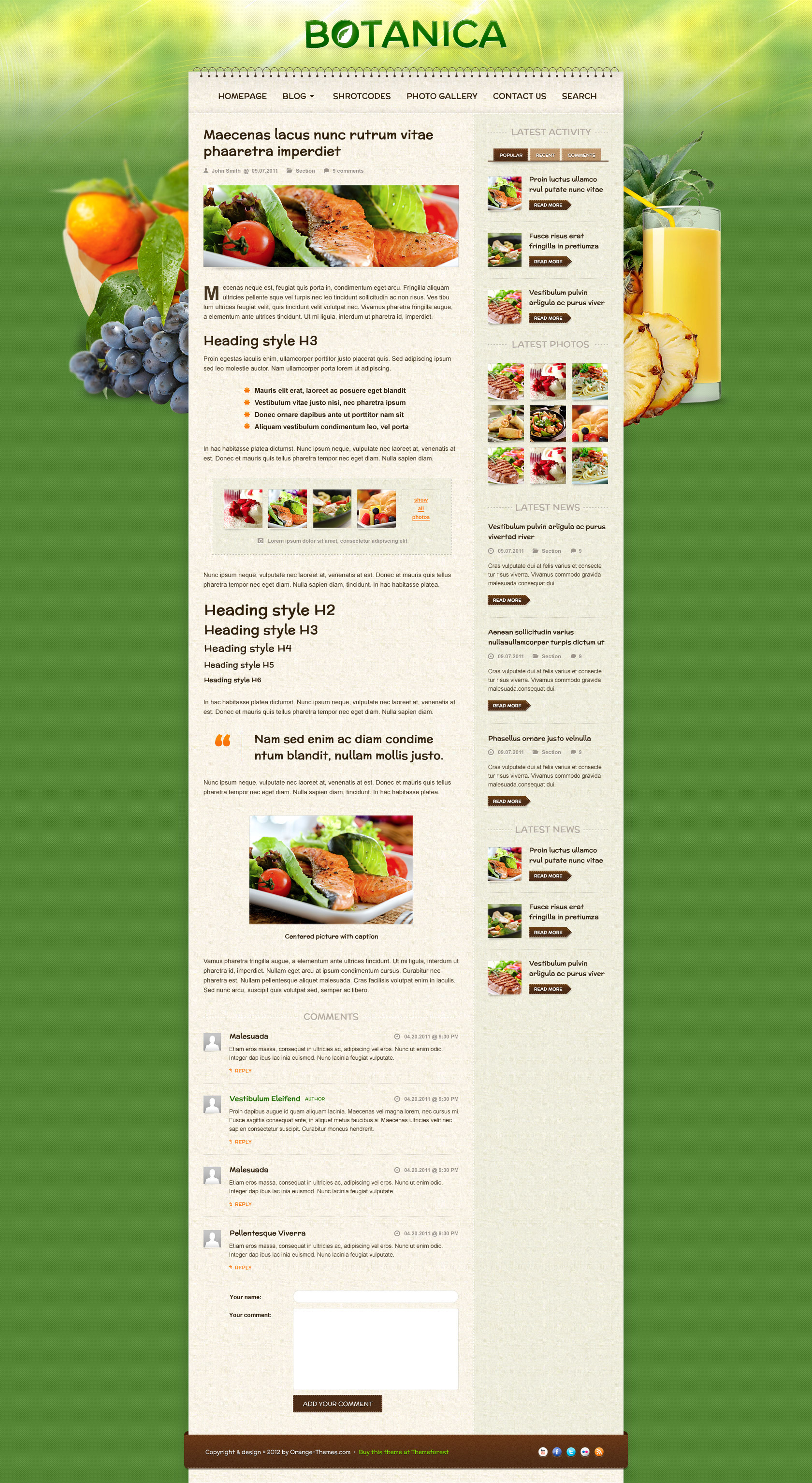 Botanica - Diet & Fietness Wordpress Theme