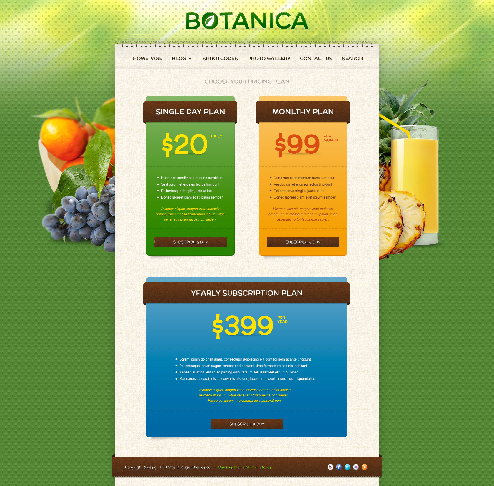 Botanica - Diet & Fietness Wordpress Theme