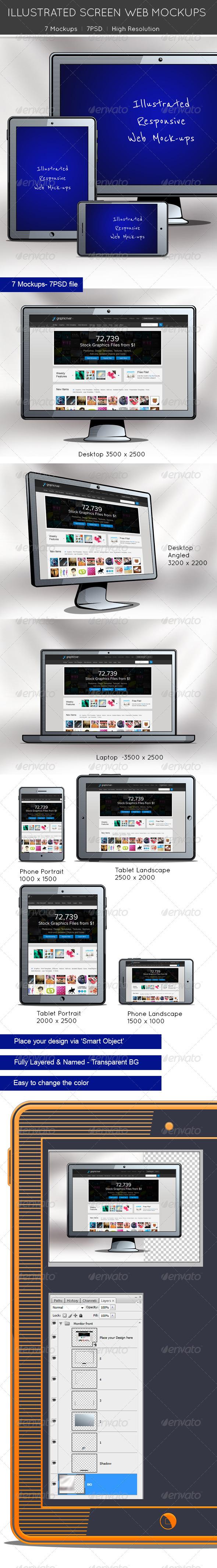 Illustrated Screen Web Mockups - Multiple Displays