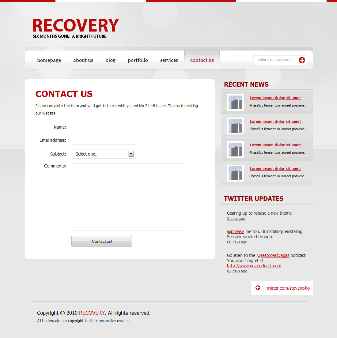 RECOVERY | A clean, versatile theme