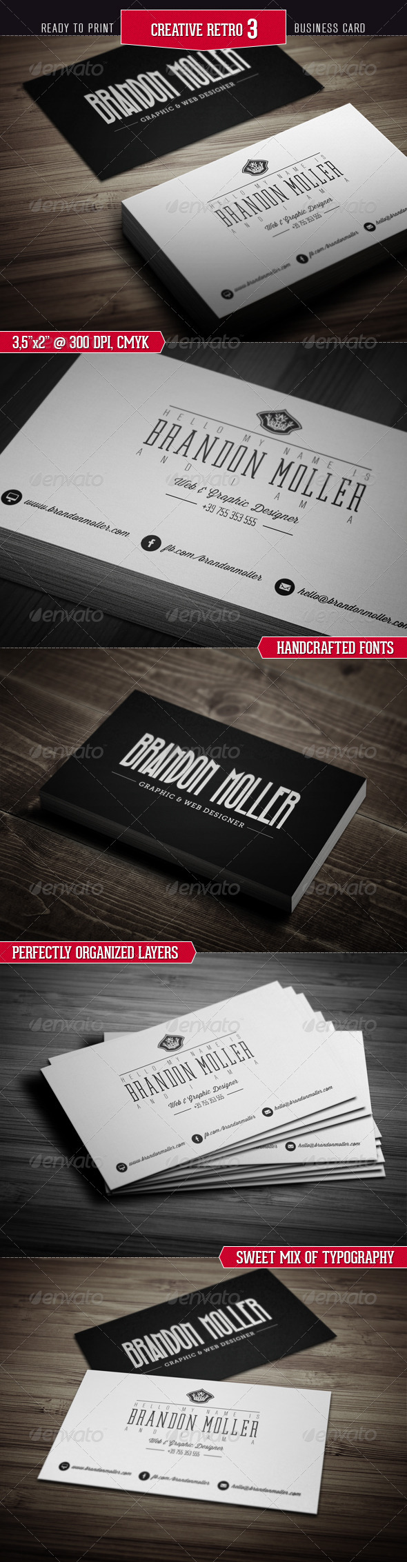 GraphicRiver Creative Retro Business Card 3 3186969