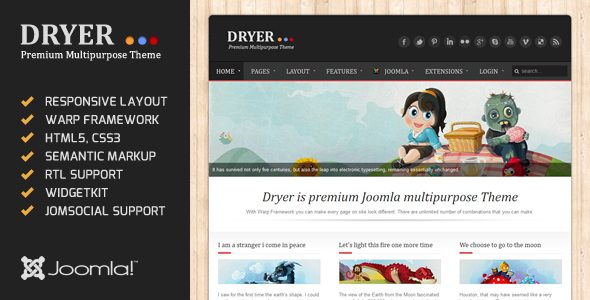 Dryer - Responsive JomSocial Ready Joomla Template - Blog / Magazine Joomla