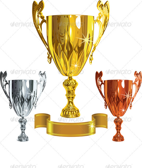 Winning success cups and gold ribbon