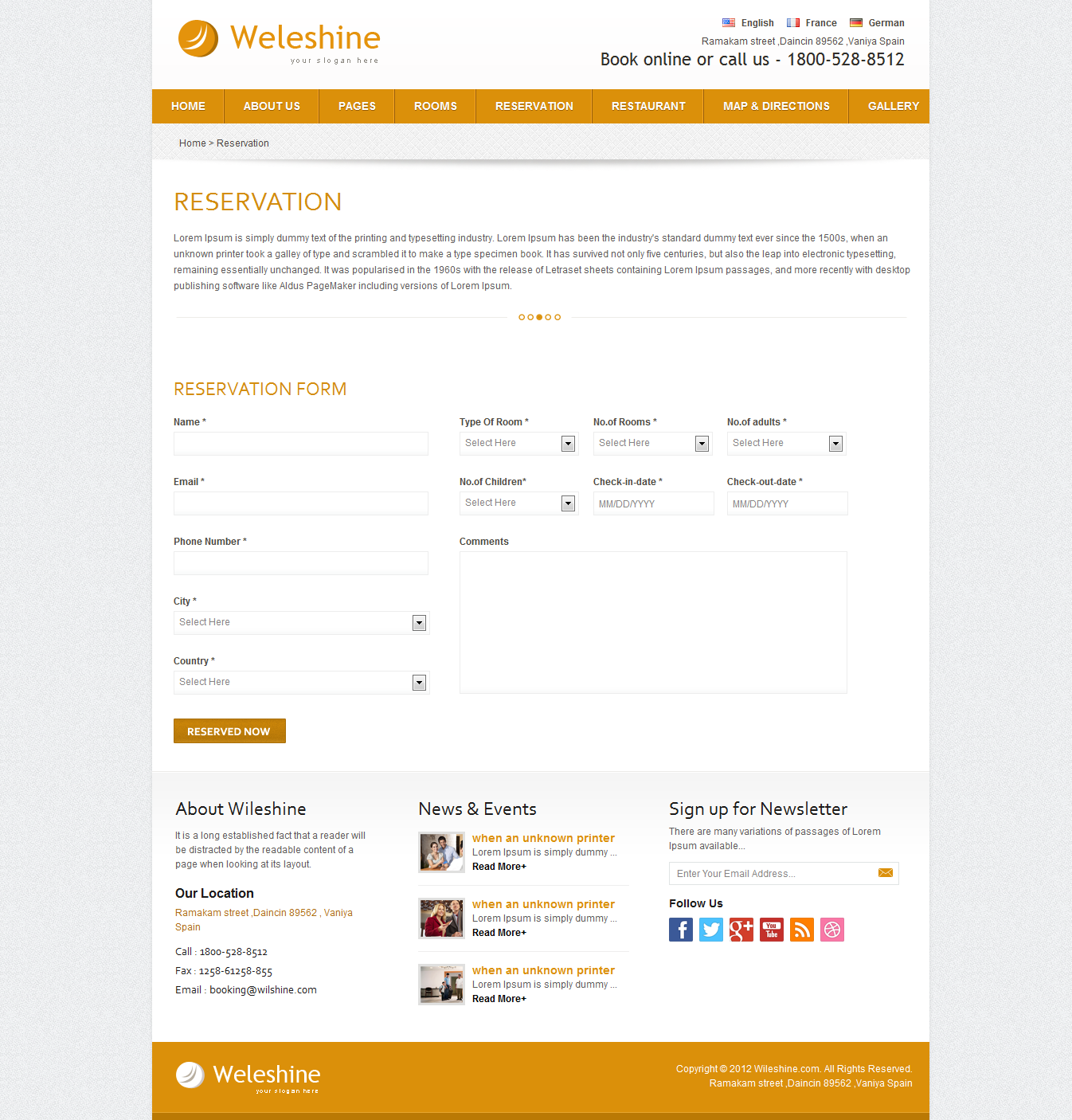 Weleshine Hotel Template