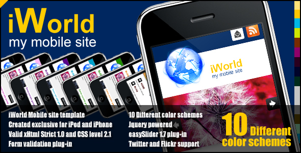 iWorld - mobile site template - ThemeForest Item for Sale
