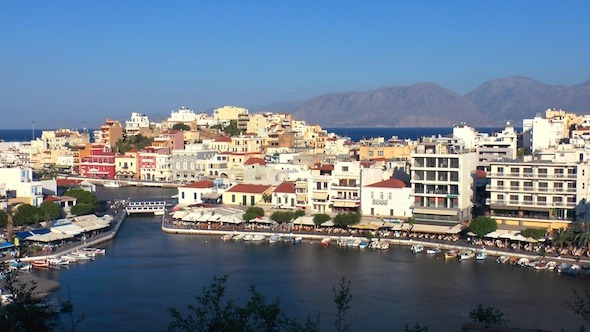 Aerial View Of Agios Nikolaos City Before Sunset 2