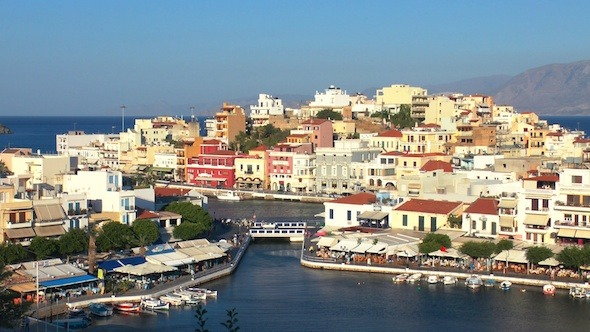 Aerial View Of Agios Nikolaos City Before Sunset 3