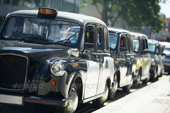 PhotoDune London Taxis Lined Up On Sidewalk 328828