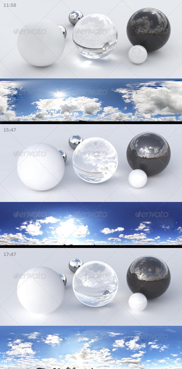 3DOcean 3er HDRI sky pack 01 blue sky sunny cloudy 3189348