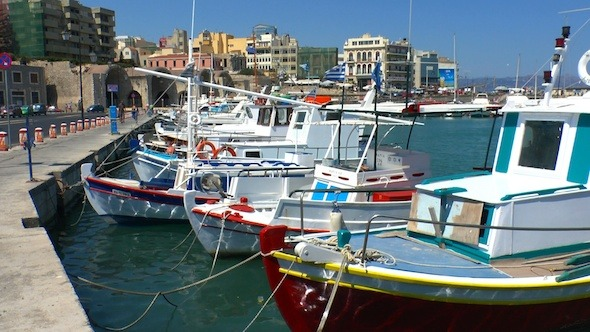 Boats in Harbor Heraklion Crete