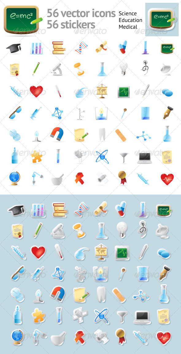 Icons for Science, Education and Medicine - Miscellaneous Icons