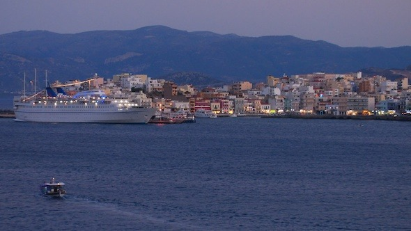 Landscape of Small Touristic City with Cruise Ship