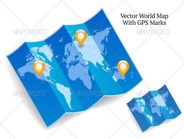Blue Folded World Map With GPS Marks