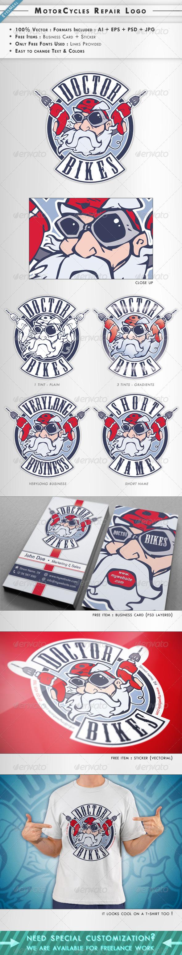 MotorCycles Repair Logo & Business Card