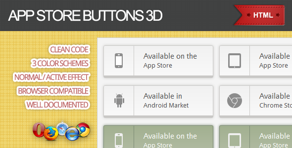 CodeCanyon App Store Buttons 3D 2463905