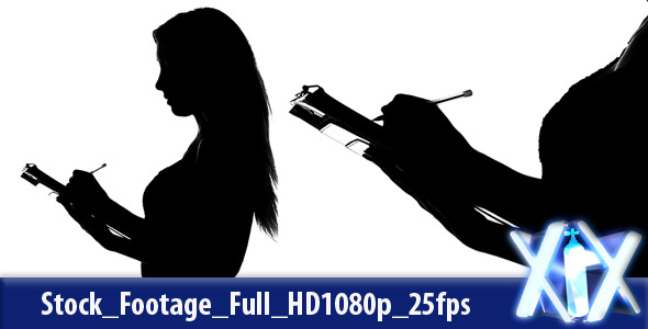 VideoHive Female With Clipboard Silhouette 3190320