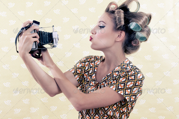 Woman taking Self-portrait - Stock Photo - Images