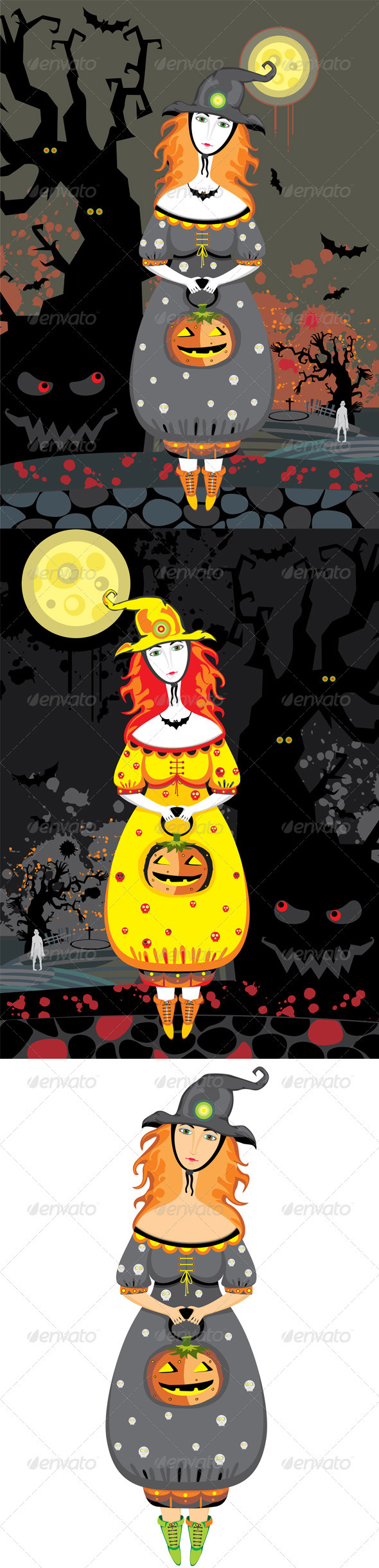 Halloween Girl Witch Cemetery Night - Halloween Seasons/Holidays