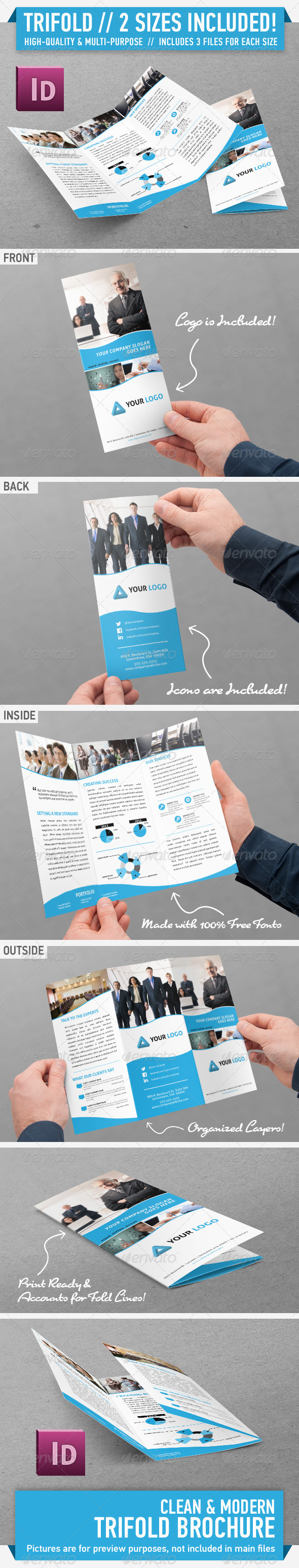 Clean Modern Trifold Brochure - Vol. 1 - Corporate Brochures