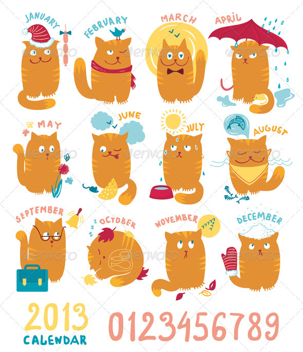Calendar With Cute Bright Cats - Characters Vectors